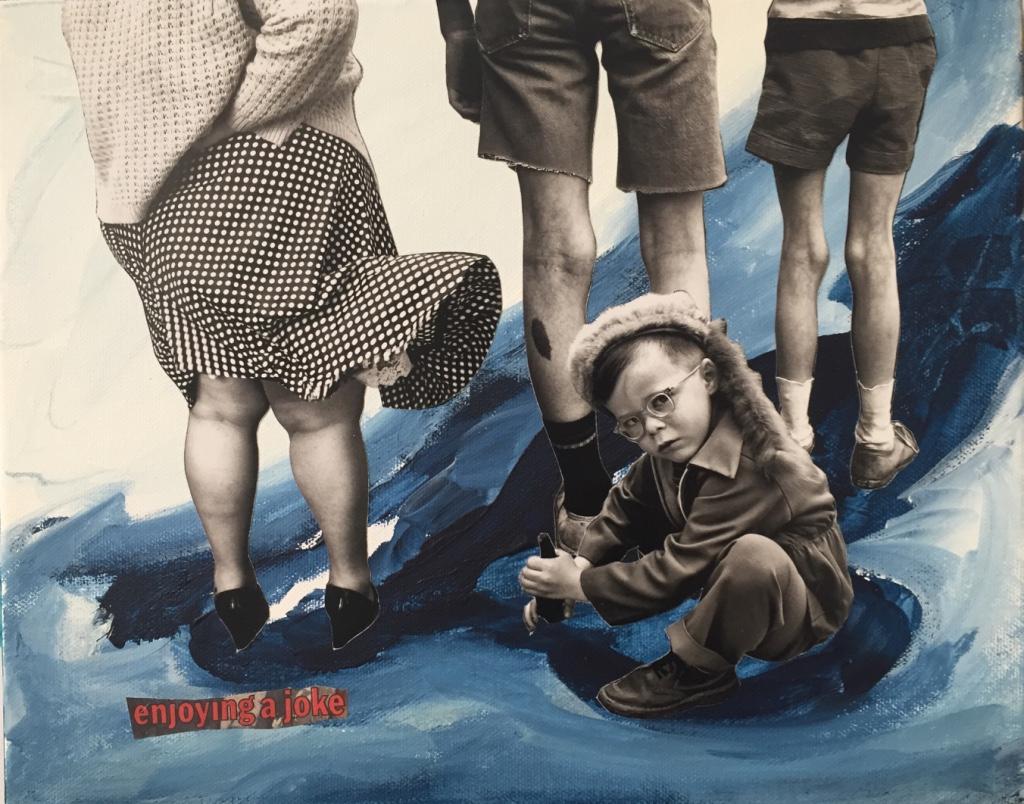 Enjoying a joke - 2019 - Acrylic paint and collage on canvas - 35X28