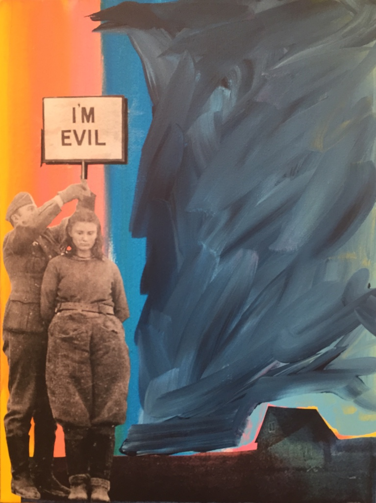 I'm evil - 2019 - Acrylic paint and collage on canvas - 50X40