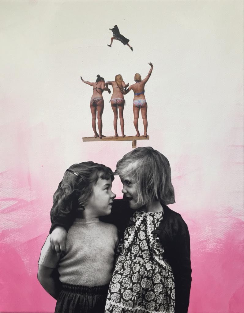 Sisterhood - 2019 - Acrylic paint and collage on canvas - 35X28